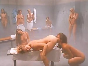 Lesbian orgy in a steamy shower