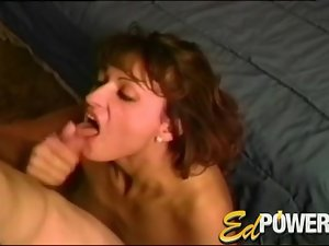 Cute amateur sucks his cock on her knees