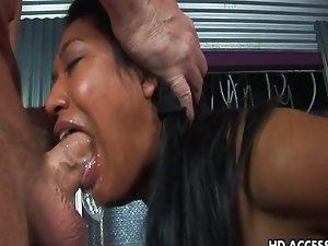 Extreme caged Asian blowjob from Lyla Lei