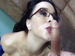 Sexy babe in glasses takes his cock down