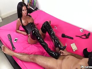 Two brunette sluts dominates their sex slave