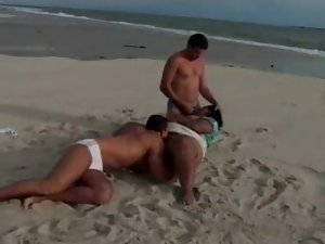 Black BBW with massive tits banged on the beach