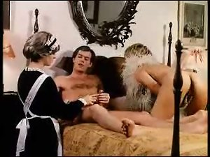 Horny maid and mistress fuck in hardcore foursome