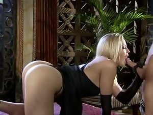 Classy blonde with great ass sucks on fat cock