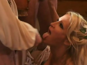 Blonde beauty down on her knees sucking dicks