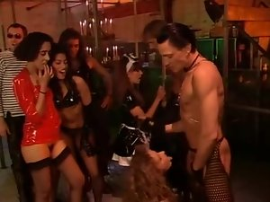 Costume party with strippers banging dudes