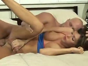 Fit shemale takes her BF cock in the ass
