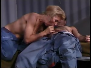 Horny old blonde fucked in jail