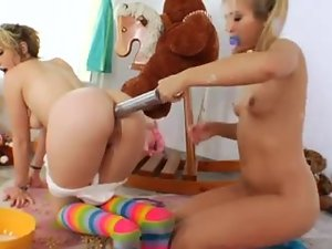 Messy anal teen lesbian play with food