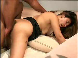Interracial fucking of a slim Asian girl