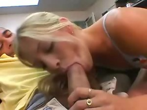 Teen in braces sucks a thick cock