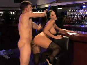 Busty bitch fucked in a bar