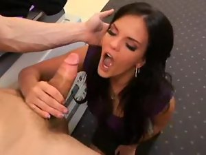 Office babe in tight dress sucks his dick