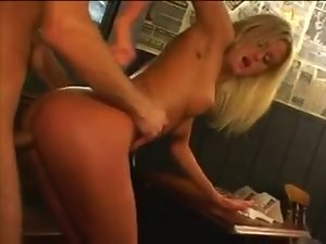 Fucking two fabulously hot blondes in a bar