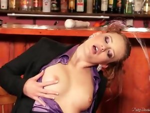 Hottie in a purple satin blouse pissed on