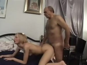 Hairy old guy fucks skinny little blonde bitch