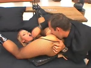 Blonde submissive fucked by her aggressive master
