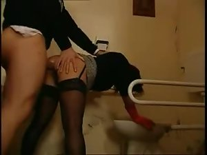 Redhead in a short skirt nailed in the bathroom