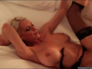 Milf escort in sexy stockings fucked in a hotel