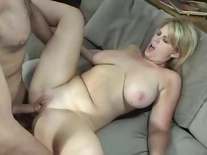 Fat blonde cutie bent over and fucked