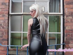 Sexual Eliza smoking wearing leather dress and high heels