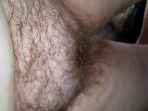 closeup of my wifes soft belly & very hairy vagina