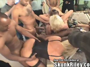 Large black shaft In White Mummy Orgy!