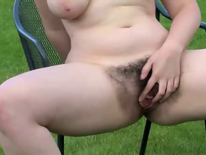 venus walks around the garden exposes her succulent hirsute twat