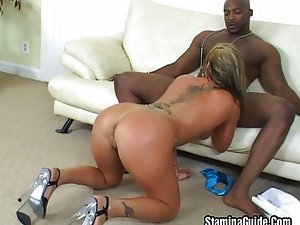 Good sized MILF nailed by black guy