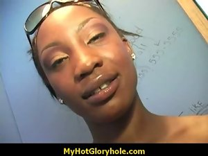 Gloryhole - Filthy ebony stroking a strangers strong dick through the hole in the wall 21
