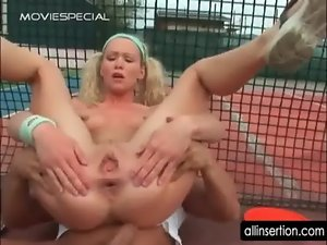 Dirty anus sex on tennis field with attractive blondie