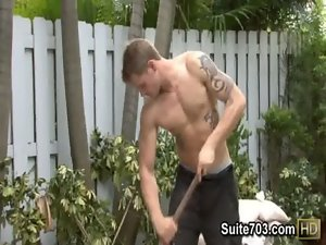 Tattooed 19 years old gays Christian and Trent fuck outdoors at work only on Suite703
