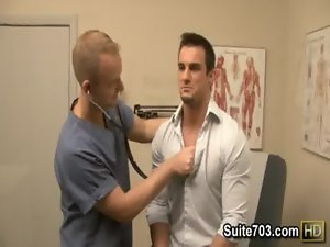 Gay doctor Robbie exam Phenix&#039_s butt at work only on Suite703