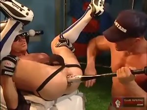 Filthy gay dudes fill gaping butt with bottle and baseball bat