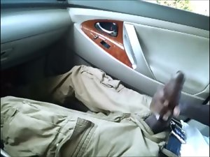 xxl ebony cock caressing in car