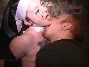 Nun choked spanked Pussy stroked thru sweaty panties Fond it