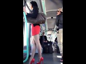 sensual dark haired with red high heels