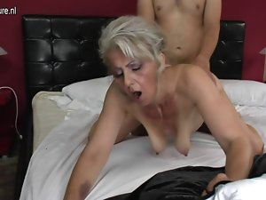 Bushy grandma wild banged by 19 years old lover