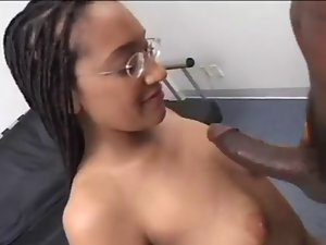 Tall Nerdy Redbone in Braids Licks on Her Knees