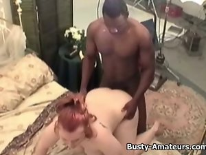 Buxom Fiona getting thumped by ebony shaft