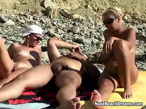 Swingers ffm triplet on the beach