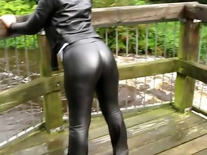Leather Eva in skintight Miss Sixties