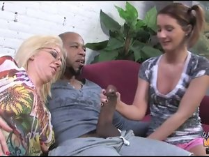Ebony fellow bangs and creampie barely legal young lady and granny