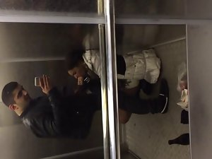 Elevator Blowjob. Cum in mouth
