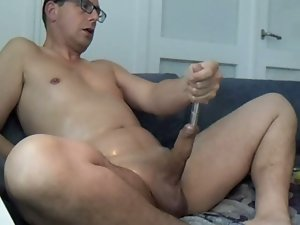 Phallus enjoyment with pump, oil and sounding