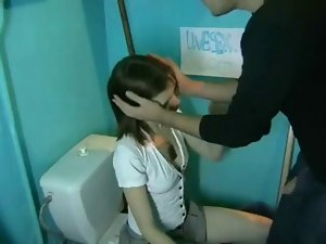 Tempting young woman bangs and licks a blind man