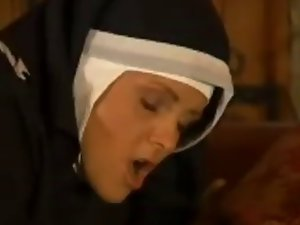 nun in fishnet pantyhose bangs