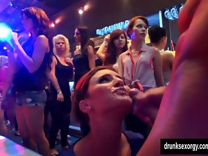 Luscious party gals fuck pricks in club