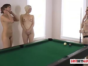 Beautiful lasses play strip billiards