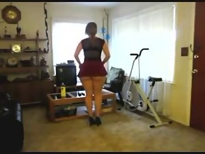 Phat Butt White Young woman Changing Clothes